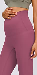High Waisted Over The Bump Seamless Maternity Leggings No Front Seam Postpartum 7/8 Pregnancy