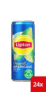 Lipton Sparkling Ice Tea blikjes met een bruisende ijsthee met de smaak van zwarte thee