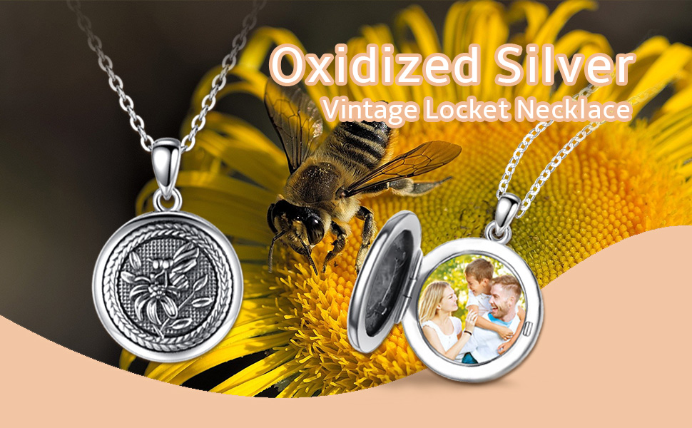 Sterling silver locket necklace for women