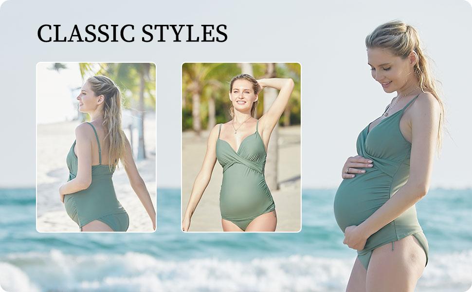 solid maternity tankini