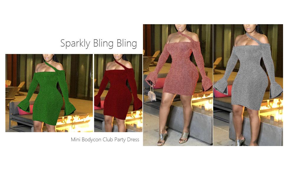 Sequins Bodycon Mini Nightclub Party Dress
