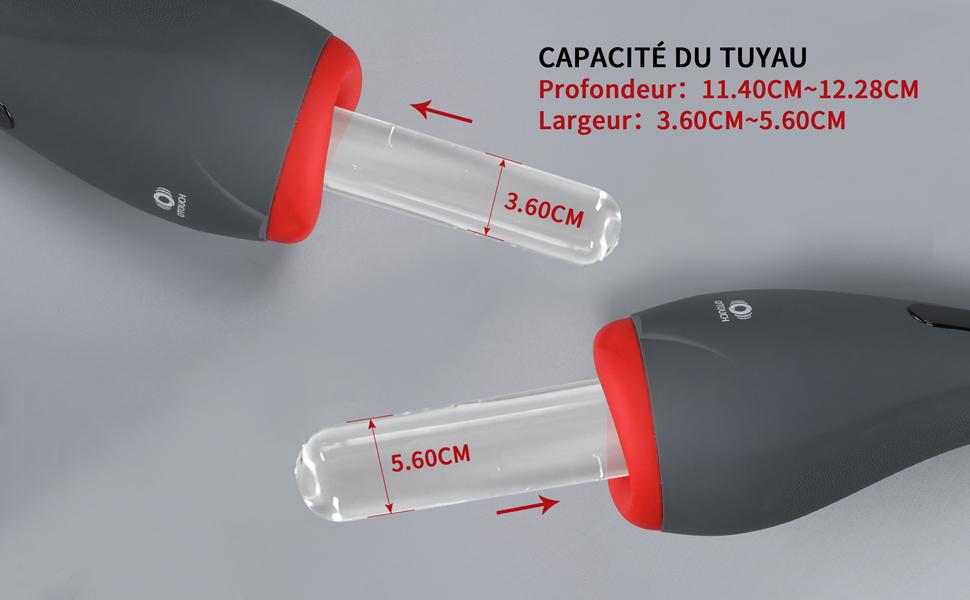 CAPACITÉ DU TUYAU : Profondeur: 11.4cm~12.28cm/ Largeur:3.6cm~5.6cm