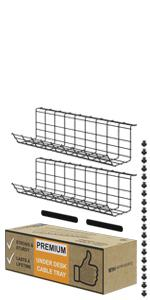 Under Desk Cable Management Tray Cable Organizer Black Cord Management