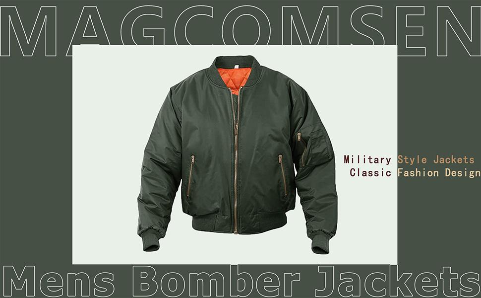 Mens Bomber Jackets Casual Windbreakers Zip Pockets Jacket