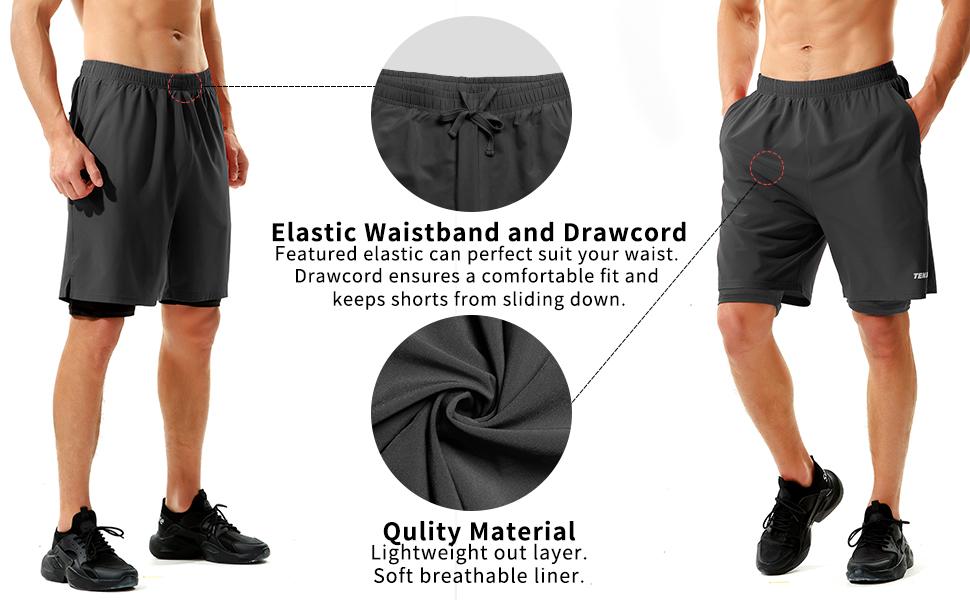 mens gym shorts 7 inch