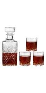 Whiskey Glasses Decanter+Three Glasses