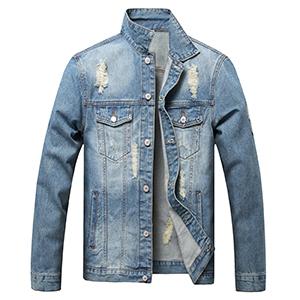 LUCKAMILEE Jean Jacket for Men Blue