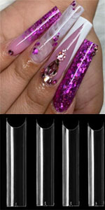 c curve curved nails straight tappered extra long acrylci nail tips fake nails polish supplies kit