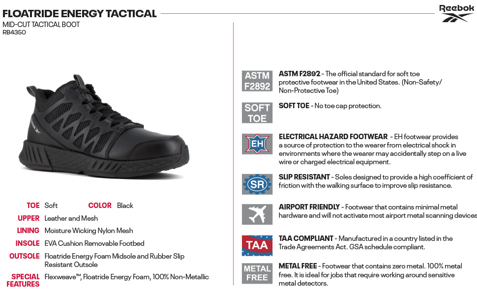 Reebok, Reebok Work, men tactical boots, tactical boots, black tactical boots