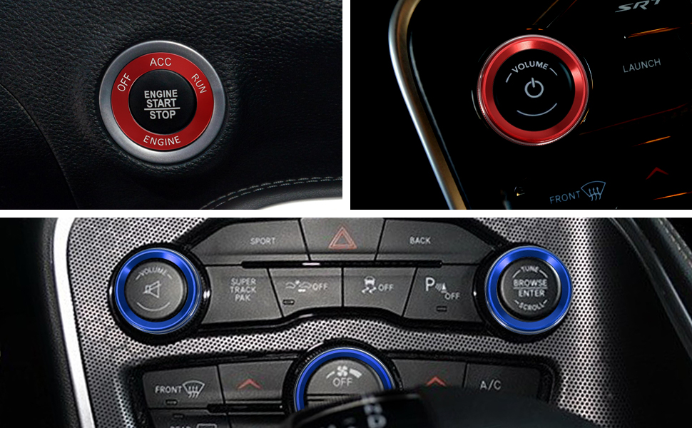 TOMALL Air Conditioner Knob Cover Sound Volume CD Switch Engine Start Stop Button for Dodge