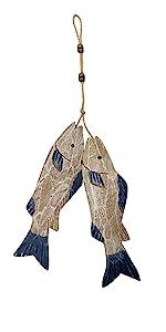wood hanging fish decor