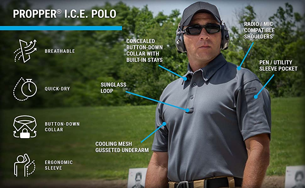 propper ice polo, performance, breathable, wicking, professional, uniform, tactical, polo