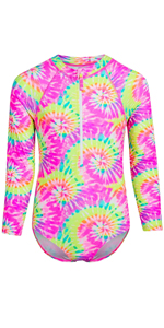 Long Sleeve One Piece Rash Guard Swimsuit with Front Zipper