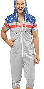 GERINLY American Flag Zipper Hooded Loungewear