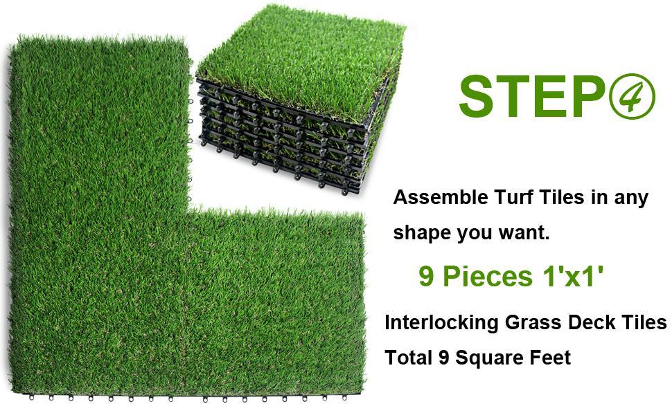 NQN Artificial Grass Tiles Installation Guide Step 4