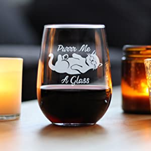 Text says Purr me a Glass, with design of a content looking sleeping cat