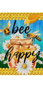 Home Decorative Bee Happy Garden Flag