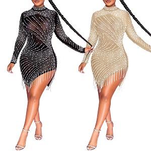 PORRCEY Women Sexy Rhinestone Dresses Party Club Night Dress Birthday Dress