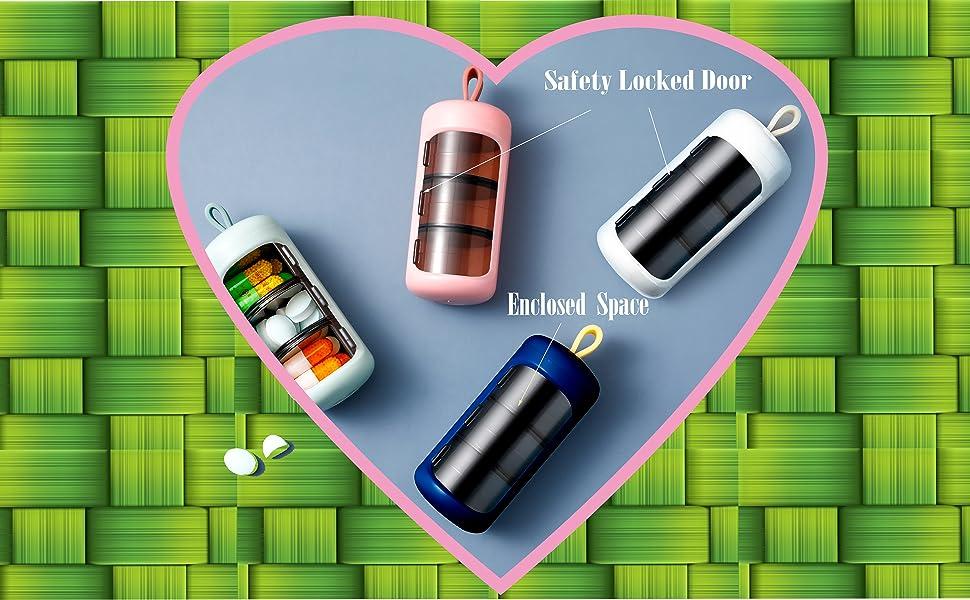 Safety locked round mini pill case