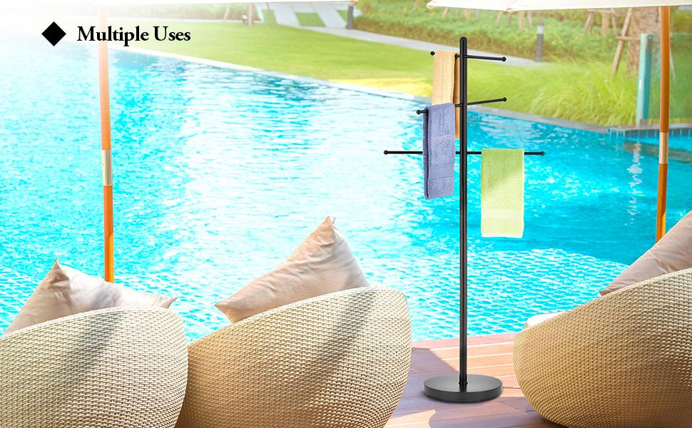 outdoor towel rack pool holder for area storage hanger racks