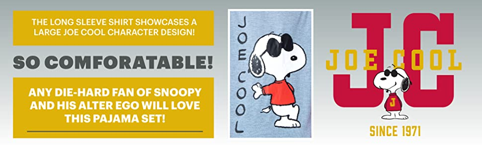 Peanuts Men's Joe Cool Snoopy Pajamas Long Sleeve Raglan Shirt And Pant 2 Piece PJ Adult Pajama Set