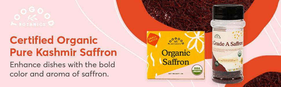 A package of certified organic pure Kashmir saffron with a pink and orange graphic background
