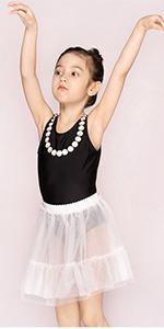 Girls One Piece Bathing Suit with Mesh Skirt Black Retro Ballet Swimsuit Dress Sleeveless Swimwear
