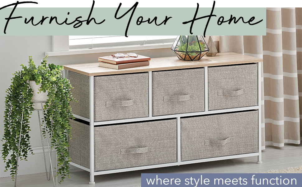 Linen drawer storage unit, plant stand, book, glasses, window, curtains, Furnish Your Home Heading