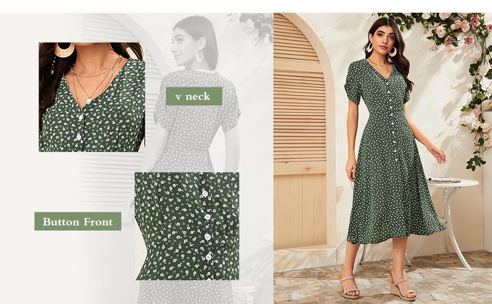 Floerns Women's Floral Print Button Up Short Sleeve Split Hem Flowy A Line Maxi Dress