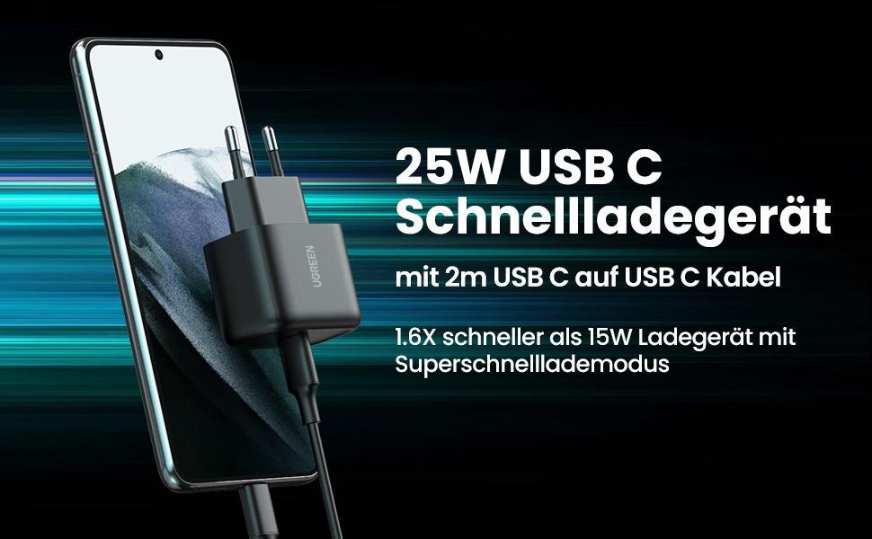 25W USB C Schnellladegerät für Galaxy mit 2m USB-C Kabel