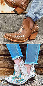 western booties pointed toe cowgirl boots
