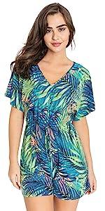 Short Kimono Sleeve V-Neck Romper   Tropical, Multi Color Stripe   S to 3X (Reg, Plus)… B093XB4D5Q