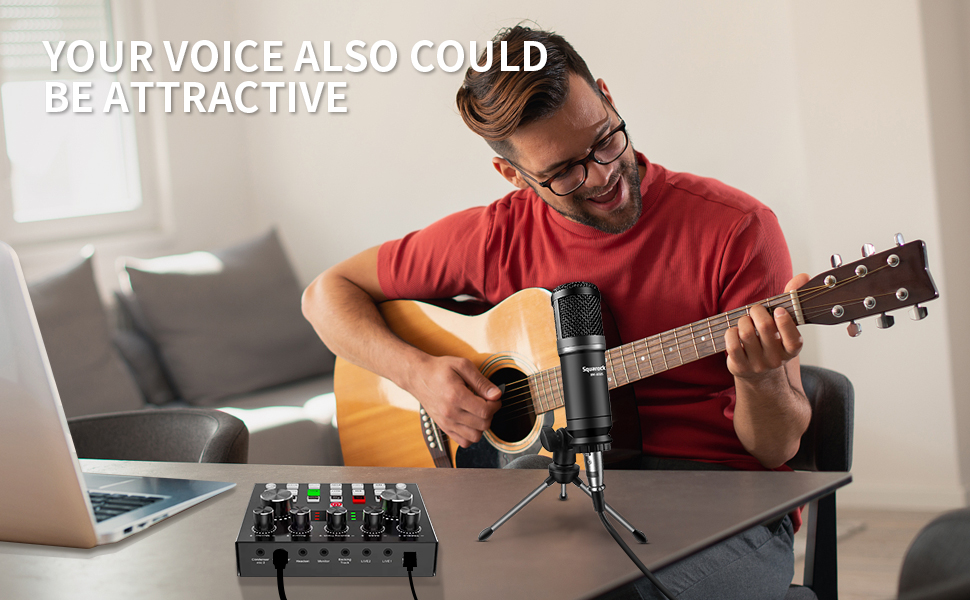 Squarock podcast equipment bundle sound mixer card microphone kit
