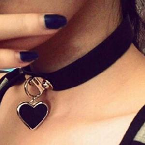 heart choker leather choker studded choker goth choker black choker necklace spiked choker