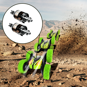 The remote control stunt car has two motors, so it is very fast.