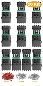 10 Kits 4 Pin Connector, 18 AWG Waterproof Electrical Automotive Wire Connector