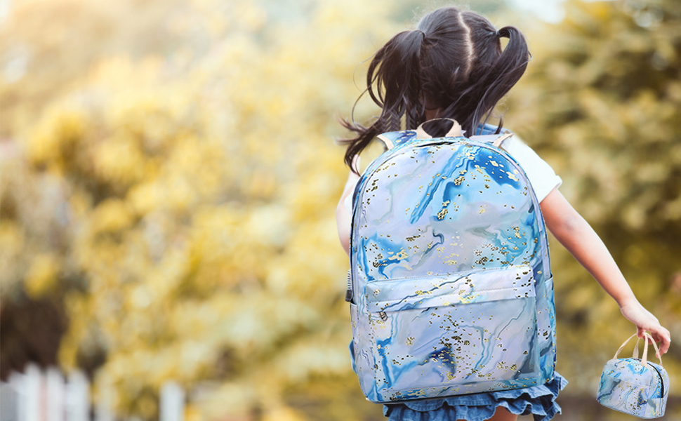 cute girls backpack with lunch box