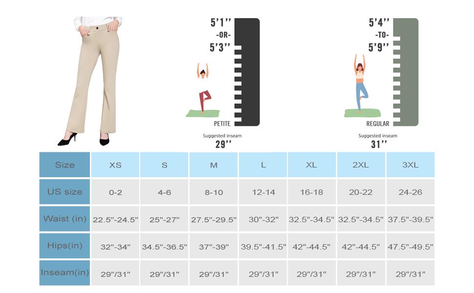 BALEAF Women's Yoga Dress Pants Size Chart