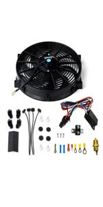 """14"""" Universal Electric Radiator Cooling Fans + Thermostat Relay amp; Mount Kit"""