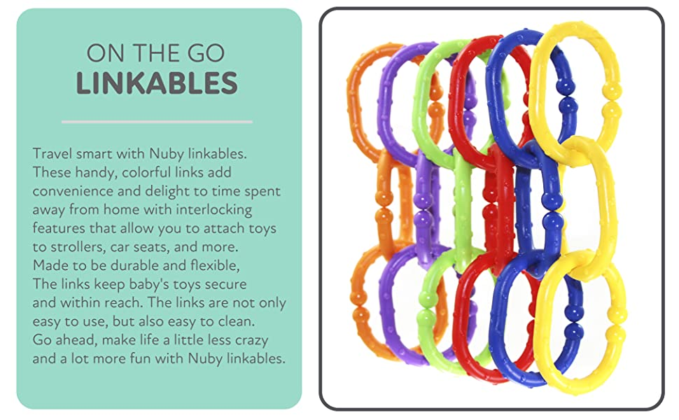 Links, Hanging, stroller, toys, linking, fun, durable, colors,