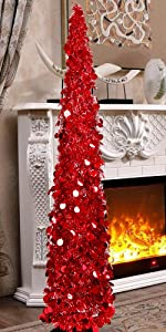 Joy-Leo 5ft Pop Up Chrismtas Tree - Red