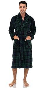 TowelSelections Men's Fleece Robe, Plush Shawl Collar Spa Bathrobe