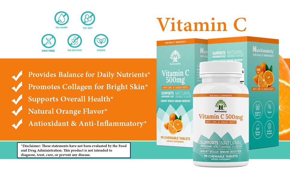 NutriCelebrity Vitamin C Chewables 500mg with Zinc & Ginger Roots