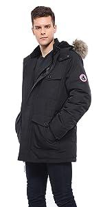 rokka and rolla mens black military winter coat parka jacket
