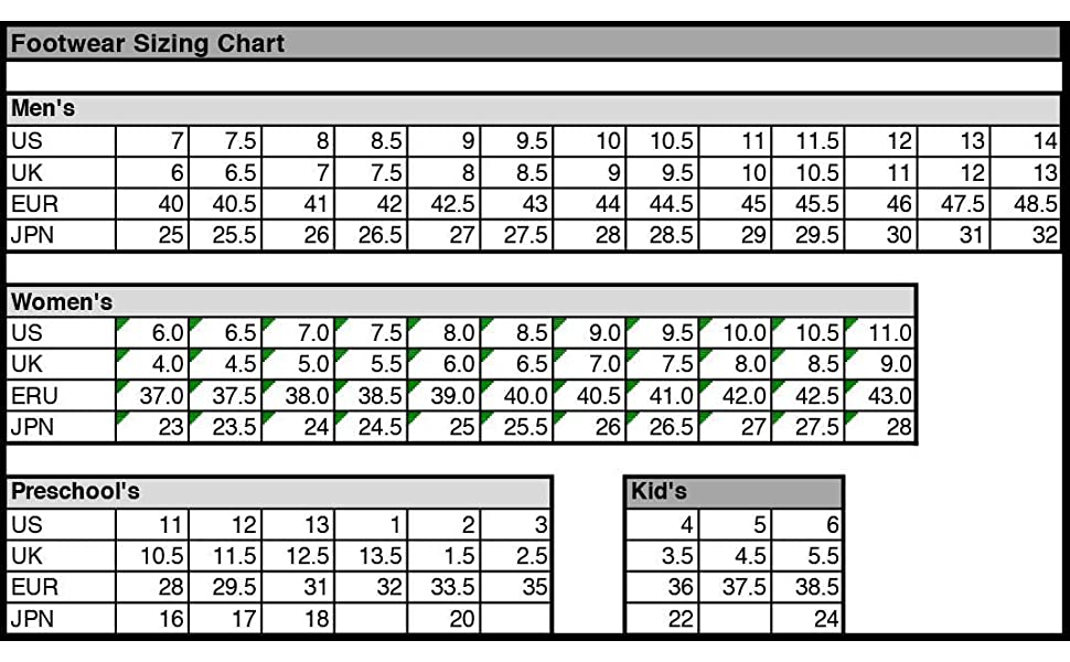 Avia size chart men and women adult