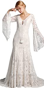 Vintage Bell sleeves Ivory lace wedding dress with bell sleeves for women sold by LIPOSA
