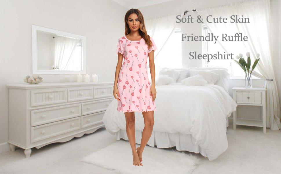 Womens Sleepshirt Short Sleeve Ruffle Seams Nightgown Soft Sleeping Shirts Loungewear Nightshirts