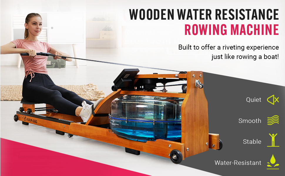Household Folding Water Rowing Machine with LCD Monitor