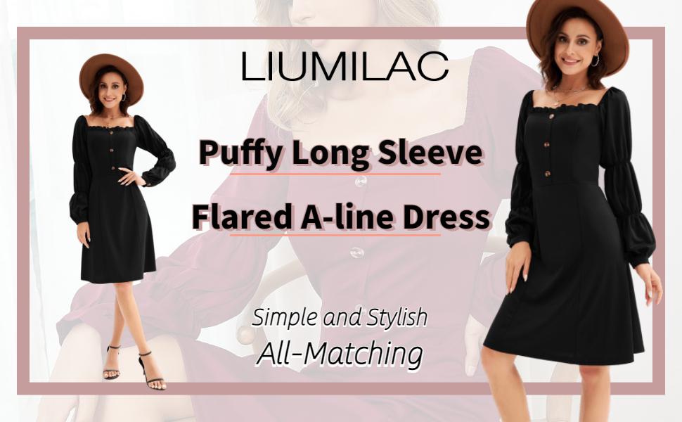Women puffy sleeve a line dress elegant long dress summer dress