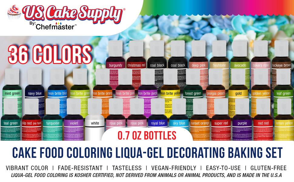 U.S. Cake Supply 36 Color Set, 0.7oz Bottles Cake Food Coloring Liqua-Gel Decorating Baking Set